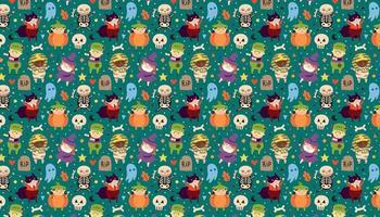 Kinder in Halloween-Kostümen von gruseligen Kreaturen Tag der Toten Urlaub Muster Banner Hintergrund Kürbis Vampir Pharao Mumie Hexe Skelett Monster Zombie vektor