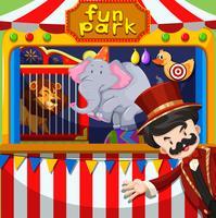 MC och djurshow på cirkus vektor