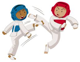 Två spelare gör taekwondo