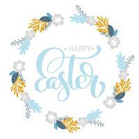 Handtecknad bokstäver Glad påskkrans med blommor vektor