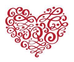 Hand gezeichnete Herzliebesvalentinsgrußblumentrennzeichen Kalligraphiedesignelemente. Vector die Weinlesehochzeitsillustration, die auf weißem Hintergrundrahmen, Herzen für Ihr Design lokalisiert wird