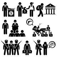 Schmutzige Geldwäsche illegale Aktivität politische Verbrechen Strichmännchen Piktogramme Icons.