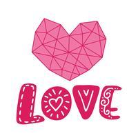 Grafisches Blumengeometrieherz und Textliebe. Vektorabbildung getrennt auf Hintergrund. Hochzeit, St. Valentinstag Dekorationen für Poster und Grußkarten