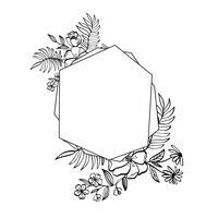 Grafisk blommig geometrisk ram. Vektor löv och blommor i söt vignett isolerad på svart bakgrund. Bröllopsstil dekorationer