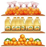 Färska apelsiner och juice på hyllorna vektor