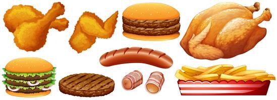 Fast-Food-Junk auf Weiß