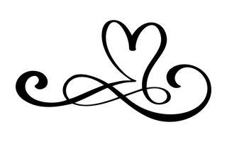 Handdragen kärlek gräns blommig hjärtseparator Kalligrafi designelement. Vektor vintage bröllop, valentiner dag illustration Isolerad på vit bakgrund