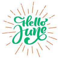 Hallo Juni Beschriftungsdruck-Vektortext. Sommer minimalistische Darstellung. Getrennte Kalligraphiephrase auf weißem Hintergrund