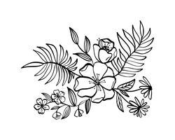 moderna blommor ritning och skiss