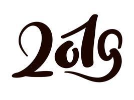 Hälsningskortdesignmall med kinesisk kalligrafi 2019 Nyårgrunge nummer 2019 handritad bokstäver. Vektor illustration