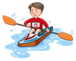 Mann Athlet Kanu fahren auf dem Wasser vektor