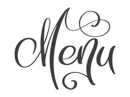Meny restaurang handritat bokstäver fraser text vektor illustration