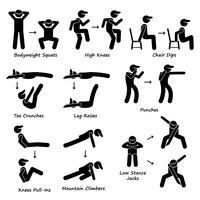 Body Workout Übung Fitnesstraining (Set 2) Strichmännchen Piktogramme.