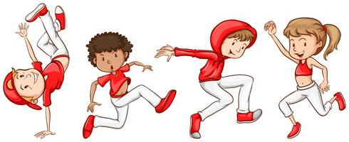 En enkel skiss av dansarna i rött