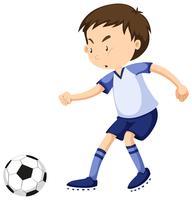 Junge, der allein Fußball spielt vektor