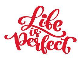 Inspirational Zitat Das Leben ist perfekt handgeschrieben Vintage Text Vektor Hand gezeichnet Schriftzug Satz. Tinte Abbildung. Moderne Bürstenkalligraphie. Isoliert auf weißem hintergrund