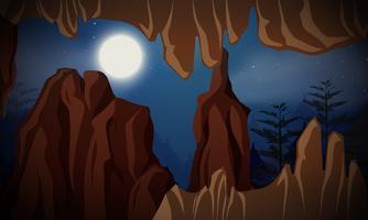 Grotta på nattscenen vektor