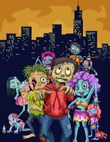 Zombies går i staden vektor