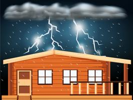 Scen med åskväder över huset