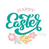 Handtecknad bokstäver Glad påsk med blommor, grenar och lämnar skandinavisk vektor illustration. Design för inbjudningar, hälsningskort. Isolerad på vit bakgrund