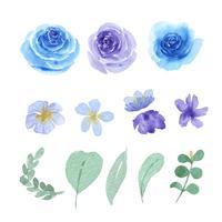 Blommor och blad akvarellelement sätter handmålade frodiga blommor. Illustration av ros, pion, små blommor vintage, isolerad vattenfärg. Design inredning för inbjudningskort, bröllop, affisch, banner. vektor