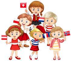 Kinder, die Flaggen aus verschiedenen Ländern halten vektor