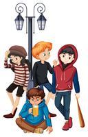 Grupp av problem-steet tonåring