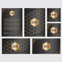Goldfahnenhintergrundfliegerart Design-Schablone