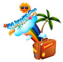 Sommerthema mit Regenbogen und Koffer