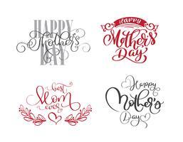 glad mödrar dag uppsättning Handtecknade bokstäver citat vektor