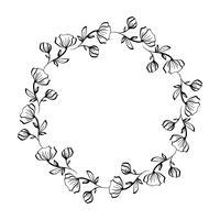 Lavendel blommor dekorativa krans isolerad på vit bakgrund, Runda ram handen ritar klotter vektor skissa växtbaserad konst grafisk design för hälsningskort, inbjudan, bröllop design, kosmetiska