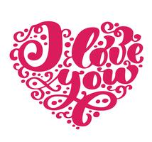 Ich liebe dich. Ich herz dich Valentinsgrußtagesgrußkarte mit Kalligraphiehochzeit. Handgezeichnete Design Vintage Elemente. Handschriftliche moderne Bürstenbeschriftung