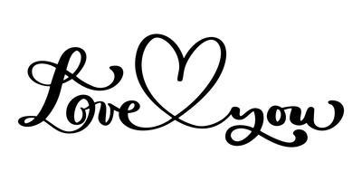 Lieben Sie Grußkartendesign mit stilvollem rotem Text für glückliche Valentinsgruß-Tagesfeier. Hochzeits-Zitat. Vektorweinlesetext, Phrase beschriftend. Isoliert auf weißem hintergrund