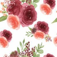 Mönster sömlös blommig frodig akvarell stil vintage textil, blommor aquarelle isolerad på vit bakgrund. Design blommor dekor för kort, spara datum, bröllop inbjudningskort, affisch, banner. vektor