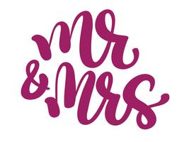 Herr och fru handskriven med spetspenna och bläck och sedan autotraced traditionella bröllop ord vektor