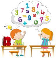 Zwei Kinder, die im Klassenzimmer berechnen vektor