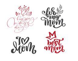 Happy Mothers Day Set Handgezeichnete Zitate Schriftzug. Vector T-Shirt oder Postkartendruckdesign, Hand gezeichnete kalligraphische Textdesignschablonen des Vektors, lokalisierte Phrase auf weißem Hintergrund