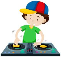 DJ, der Musik von der Diskjockeymaschine spielt vektor