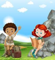 Pojke och tjej camping ute på fältet