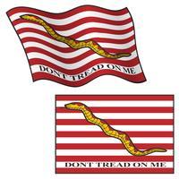 Treten Sie nicht auf mir Flagge, Wellenartig bewegen und flach, Vektor-Grafik-Illustration