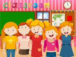Söt tjejer i klassrummet