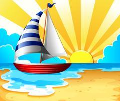 Segeln und Strand vektor