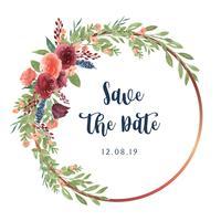 Kranzaquarell blüht handgemalt mit Textrahmengrenze, das üppige Blumenaquarell, das auf weißem Hintergrund lokalisiert wird. Entwerfen Sie Dekor für Karte, speichern Sie das Datum, Hochzeitseinladungskarten, Plakat, Fahne.