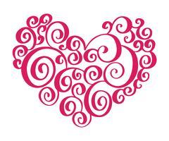 Handdragen hjärtat kärlek valentin blomstra separator Kalligrafi designelement. Vektor vintage bröllop illustration Isolerad på vit bakgrund ram, hjärtor för din design