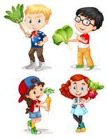 Jungen und Mädchen mit frischem Gemüse vektor