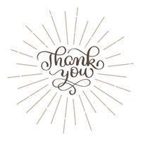 Tack Handritad text. Trendigt handbokstävercitationstecken, grafik, tappningkonsttryck för affischer och hälsningskortdesign. Kalligrafisk isolerad citat. Vektor illustration för Thanksgiving Day