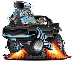 Klassisches Muskel-Auto, das einen Wheelie, riesigen Chrome-Motor, verrückter Fahrer, Karikatur knallt