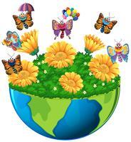 Erdthema mit Schmetterlingen und Blumen vektor