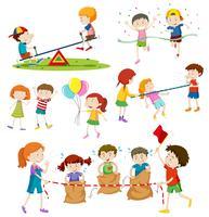 Kinder, die verschiedene Spiele spielen