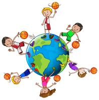 Basketballspieler mit Ball auf der ganzen Welt